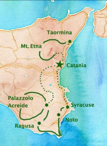 avid cycling tour sicily - approximate route map
